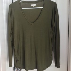 Madewell olive green long sleeve v-neck top